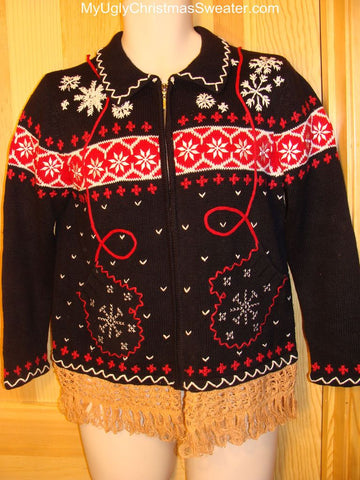 Ugly Christmas Sweater Festive Nordic Red, Black, and White