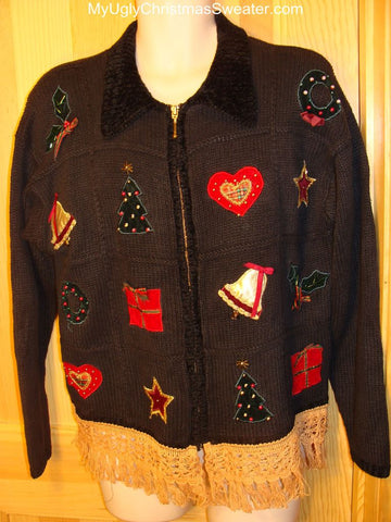 Ugly Christmas Sweater Vintage 80s Padded Shoulders Crafty Motif