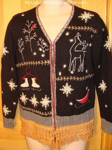 Ugly Christmas Sweater 2-sided Reindeer, Skates, Snow