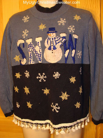 "Ugly Christmas Sweater ""Snow"" Snowman"