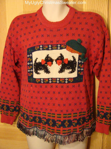 Ugly Red Christmas Sweater Terrier Dogs Nordic