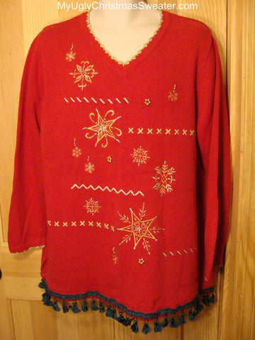 Ugly Red Christmas Sweater with Bling Accents
