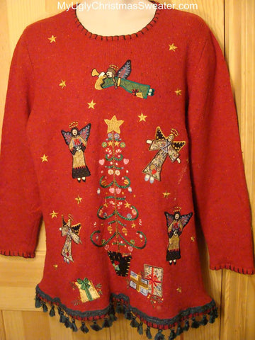 Ugly Red Christmas Sweater Giant Tree with Flying Angels!