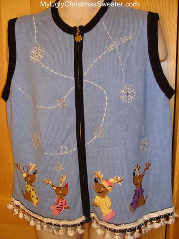 "Ugly Christmas Sweater Vest ""Let it Snow"". Four Smiling Reindeer"