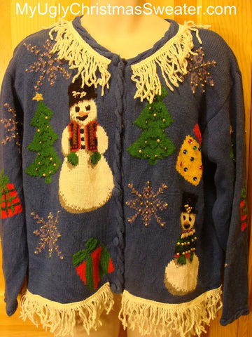 Ugly Christmas Sweater with Giant Snowmen and Bling Beadwork