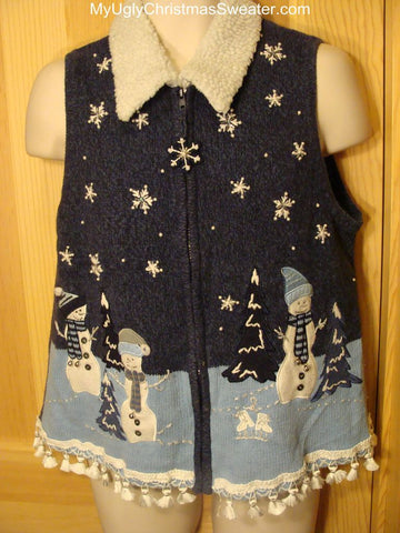 Ugly Christmas Sweater Vest Snowmen in a Winter Wonderland