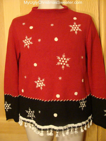 Ugly Red Christmas Sweater Festive Snowflakes