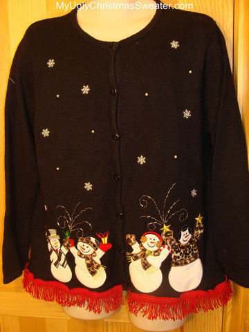 Ugly Christmas Sweater Leopard Clothes on Celebrating Snowmen with Bling