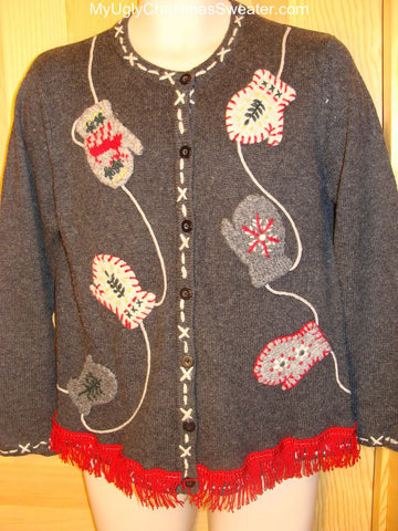 Ugly Christmas Cardigan Sweater Mittens on a String