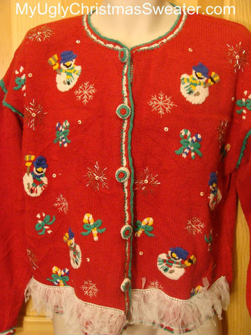 Ugly Christmas Sweater with Snowmen and Candy Canes