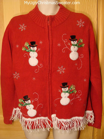 Tacky Ugly Red Christmas Sweater with Four Zippy Snowmen