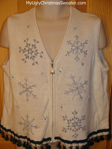 Tacky Ugly Christmas Sweater Vest with Snowflakes and Fringe
