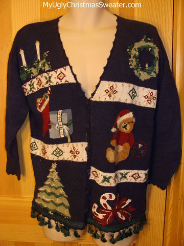 Tacky Ugly Christmas Sweater Santa Bear 80s Cardigan with Fringe