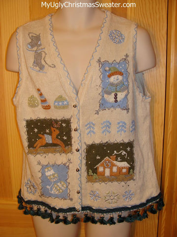 Tacky Ugly Christmas Sweater Vest Crafty with Dangling Fringe