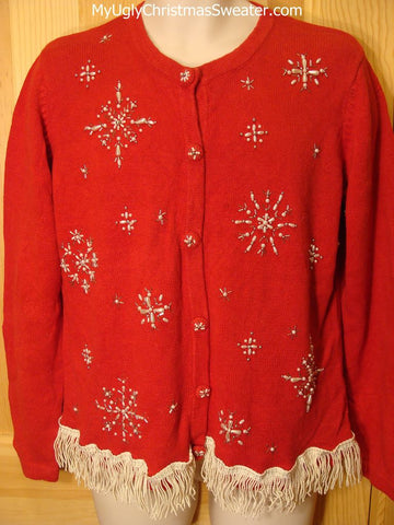 Tacky Ugly Christmas Sweater Red with Bling Bead Snowflakes and Dangling Fringe