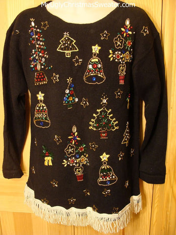 Tacky 80s Retro Ugly Christmas Sweater with BLING Trees & Bells