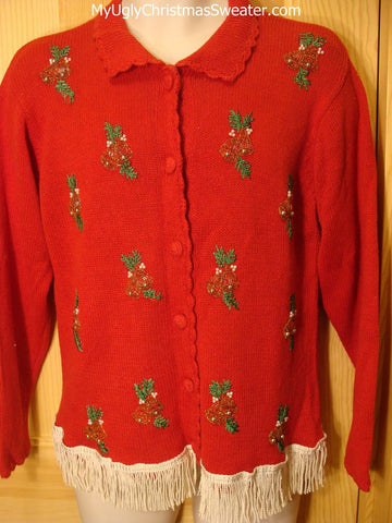Tacky Red Ugly Christmas Sweater Cardigan with BLING Bells & Ivy