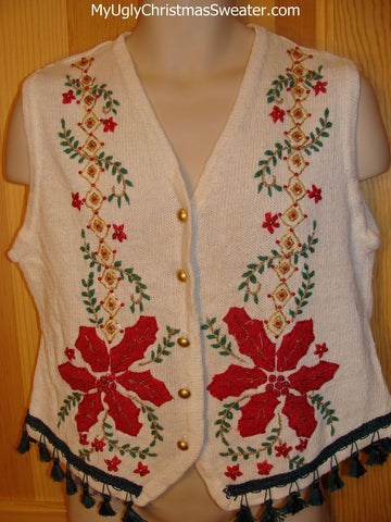 Tacky Ugly Christmas Sweater Vest Huge Red Poinsettias Dangling Fringe