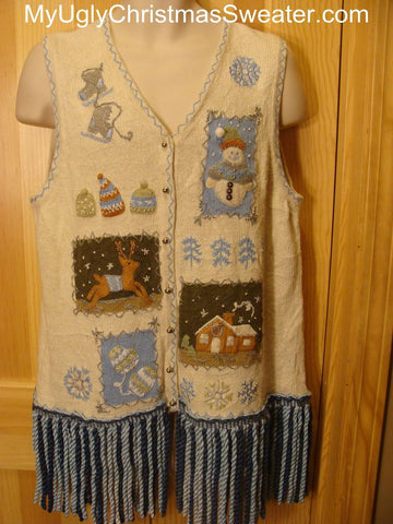 Ugly Christmas Sweater Vest with LONG Fringe