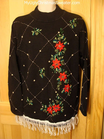 Tacky Ugly Christmas Sweater Bling Beads & Poinsettias & Fringe 80s Retro