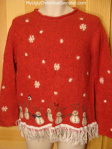 Tacky Ugly Red Christmas Sweater 2sided Snowmen in a Winter Wonderland