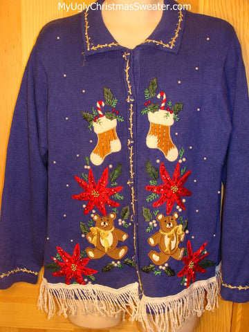 Tacky Ugly Christmas Sweater Poinsettias Bears Stockings Fringe