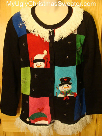 Ugly Christmas Sweater with Happy Snowmen