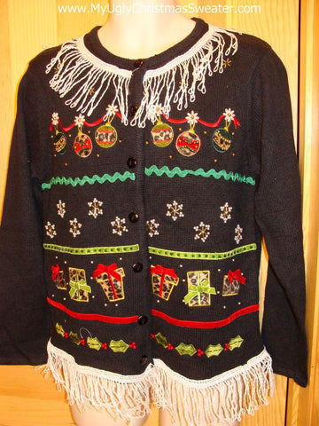 Ugly Tacky Christmas Sweater Fringe Ornaments Presents Cardigan