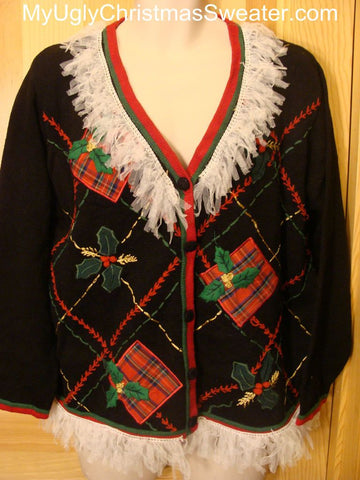 Ugly Christmas Sweater Cardigan with Fluffy Fringe