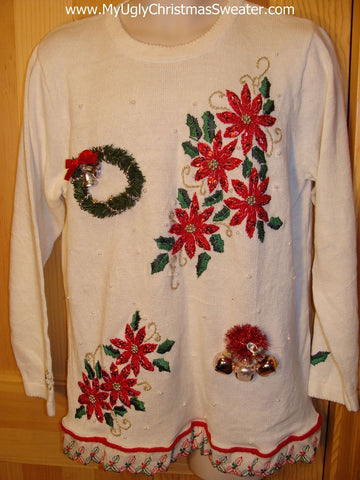 80s Poinsettias Ugly Tacky Christmas Sweater with Jingle Bells