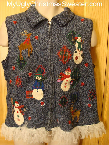 Ugly Christmas Sweater Vest Reindeer and Snowmen