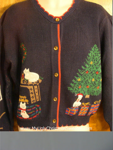 Cats and Dogs Under the Tree Ugly Christmas Sweater