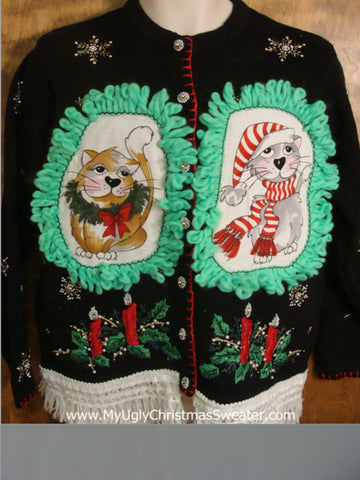Lit Candles Cat Christmas Sweater