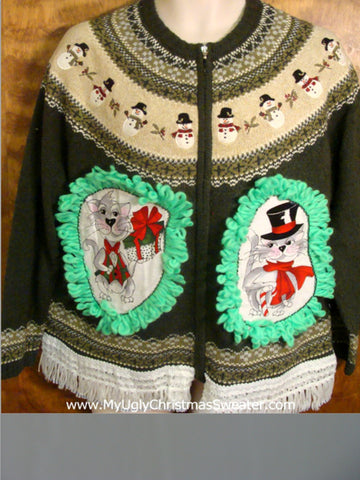 Nordic Pattern with Snowmen Cat Christmas Sweater