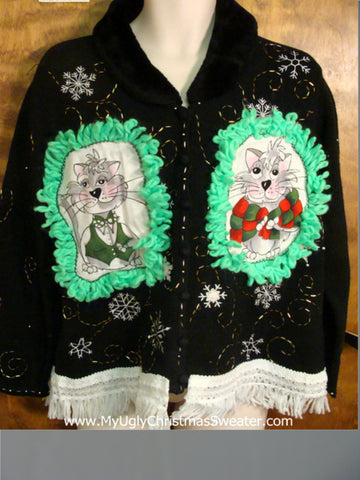 Pretty Snowflakes Cheesy Cat Christmas Sweater