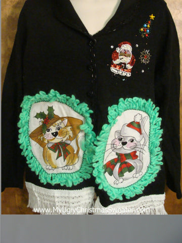 Cute Cat Christmas Sweater with Fringe