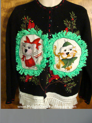 Rockin' Robin Christmas Sweater with Cat