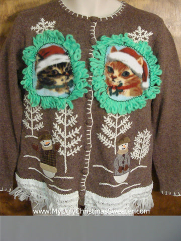 Snowy Stroll with Kittens Ugly Christmas Sweater