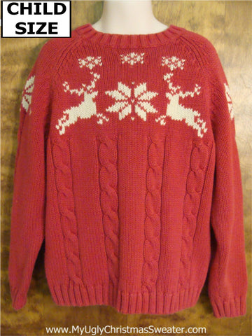 Nordic Reindeer Jumping Child Size Christmas Sweater