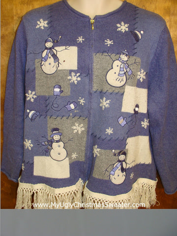 Ugly Blue Christmas Sweater with Snowmen and Fringe