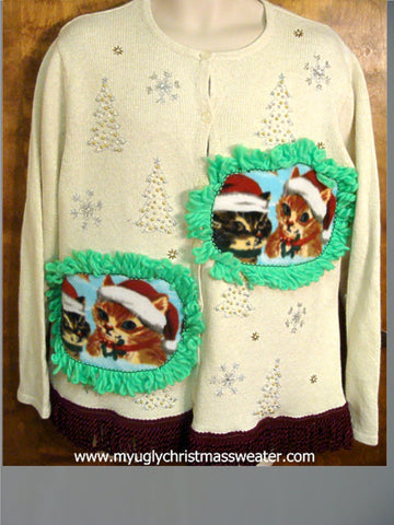 Silver and Gold Christmas Trees Christmas Cat Ugly Sweater
