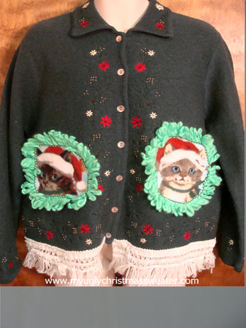 Poinsettias and Kitties Christmas Cat Ugly Sweater
