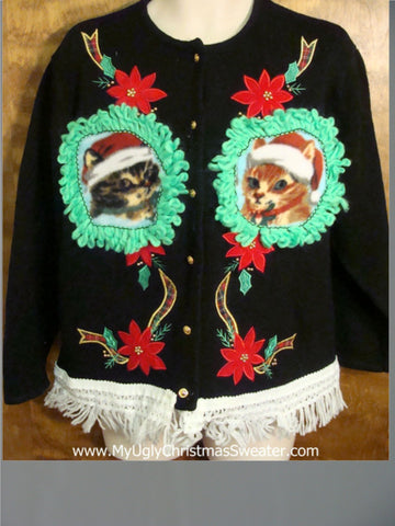Santa Kittens with Ribbon Ugly Christmas Sweater