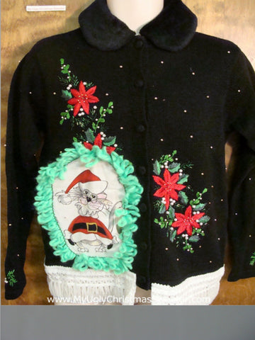 Poinsettias and Greenery Cheesy Cat Christmas Sweater