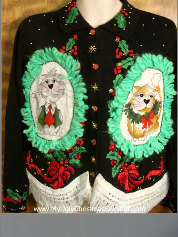Red and Green Accents Cat Christmas Sweater