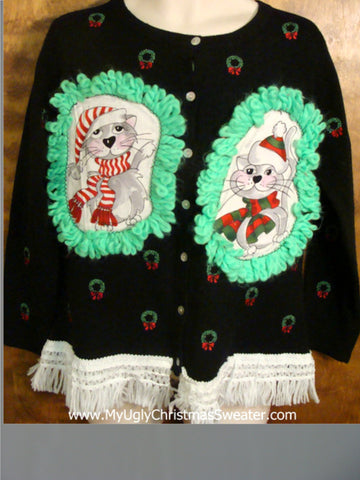 Itty Bitty Wreaths Cat Christmas Sweater
