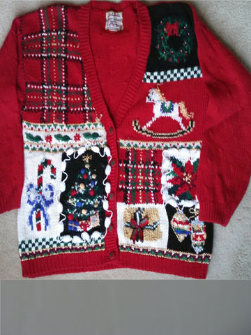 Cheesy Red Plaid Christmas Sweater with Rocking Horse