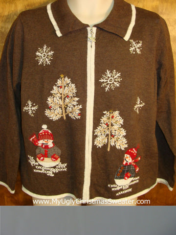 Cute Brown Holiday Sweater in Winter
