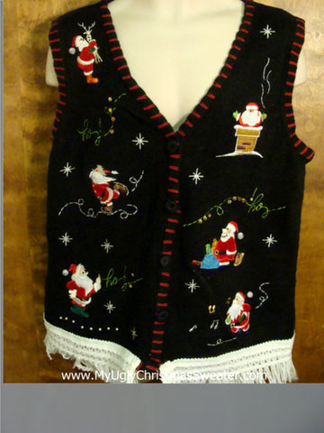Santa Having Winter Fun Ugly Christmas Jumper Vest