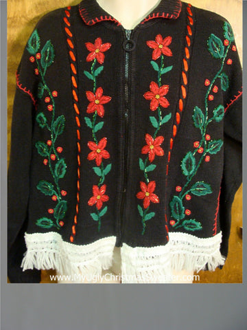 Red Poinsettias and Green Holly Ugly Xmas Sweater